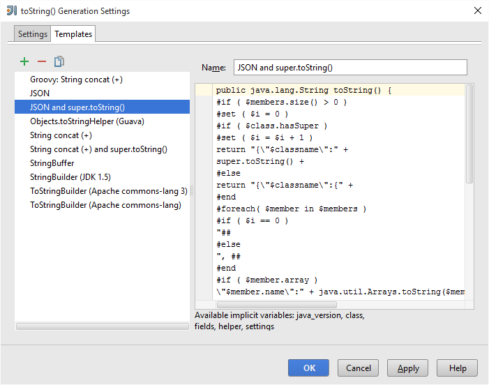 IntelliJ IDEA toString templates for JSON output